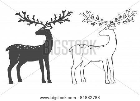 Christmas Reindeer, Set On White Background