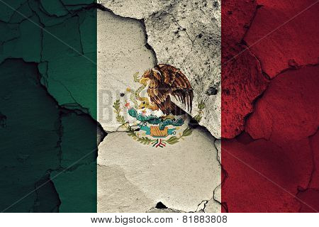 Flag Of Mexico Painted On Cracked Wall