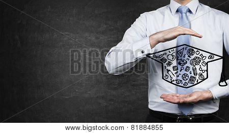 Student Holding Hat Bachelor
