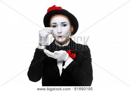 Portrait of the sad and crying mime