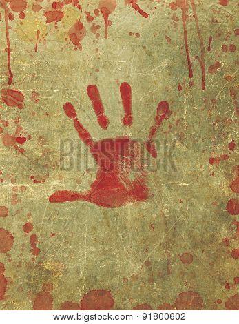 Bloody Hand Print Blood Splattered Background