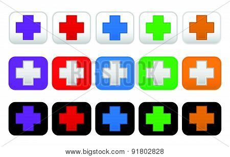 Buttons With Cross, Plus Symbols, Signs In Various Colors