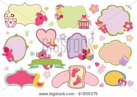 Newborn Baby girl badges,labels set.Baby shower