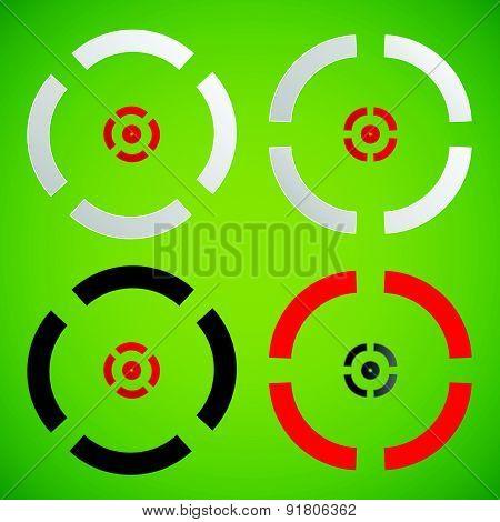 Cross Hair, Reticle, Target Mark Element(s). Vector.
