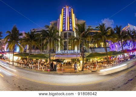 Breakwater Hotel Located At Ocean Drive By Night