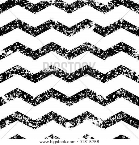 Vector Zigzag Line Grunge Seamless Pattern. Abstract Black And White Old Texture Background