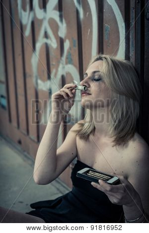 Teenage girl abusing drugs