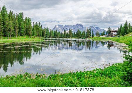 Antorno Lake in Province of Belluno, Italy