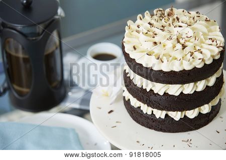 Chocolate Layer Cake Served With Fresh Coffee