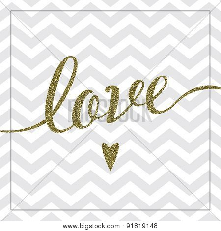 Love card with gold foil detail