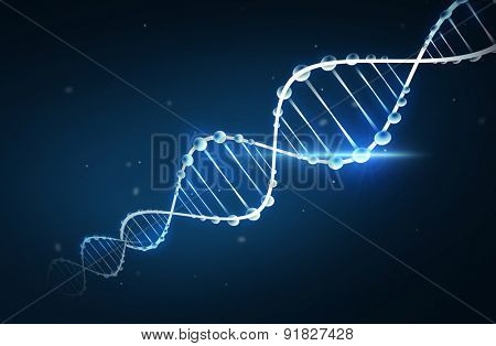 science, chemistry, biology, research and medicine concept - dna molecule chemical structure over dark background