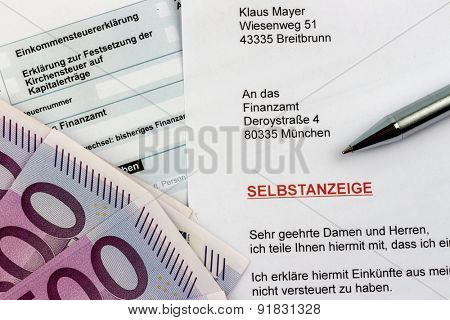 symbolic photo for a voluntary disclosure for evasion of taxes at the tax office in germany