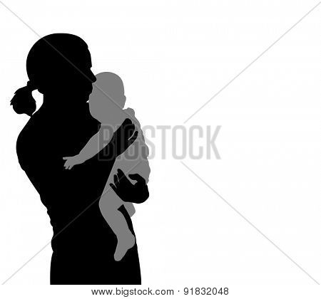 mother holding baby silhouette
