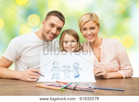 people, happiness, adoption and childhood concept - happy family with drawing pencils and picture green lights background