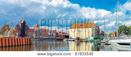 Cityscape On The Vistula River In Gdansk, Poland.