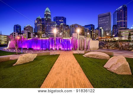 Charlotte, North Carolina, USA uptown skyline and park.