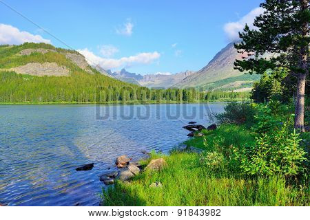 Swiftcurrent Lake In High Alpine Landscape On The Grinnell Glacier Trail, Glacier National Park, Mon