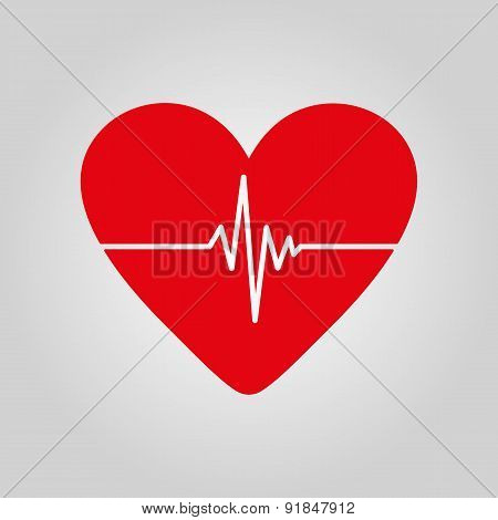 The Heart And Cardiogram Icon.