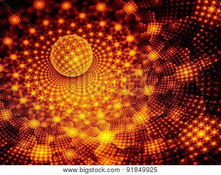 Fiery Glowing Sphere With Fractal Pattern