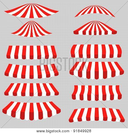 Set of Red White Tents