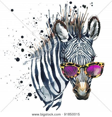 Funny zebra watercolor illustration