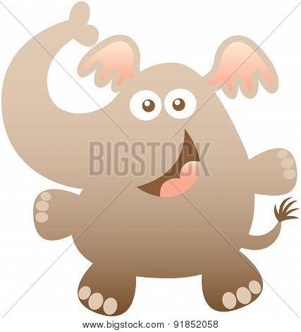 Nice baby elephant hugging and smiling sweetly
