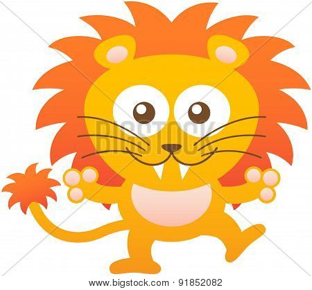 Nice baby lion hugging and smiling enthusiastically