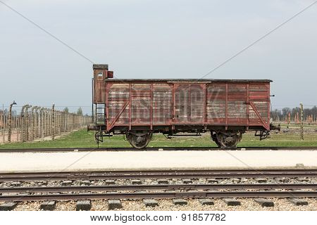 Deportation wagon at Auschwitz Birkenau at Auschwitz Birkenau concentration camp Poland poster