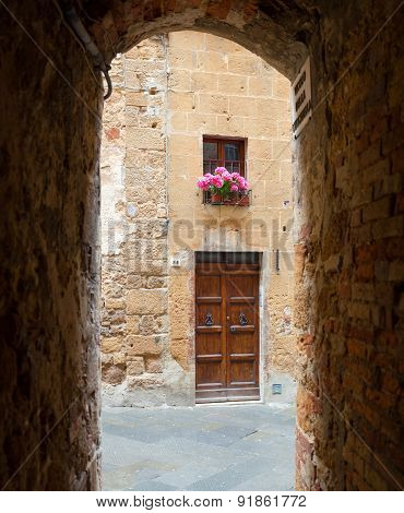 Glimpse Of The Town Of Pienza In Tuscany