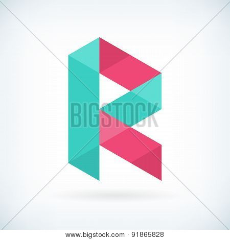 Modern Letter R Icon Flat Design Element Template