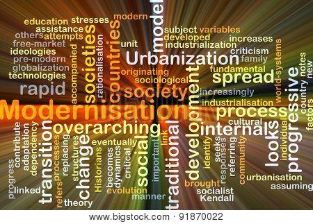 Background concept wordcloud illustration of modernisation glowing light