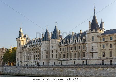View Of The Castle Of The Conciergerie In Paris, France