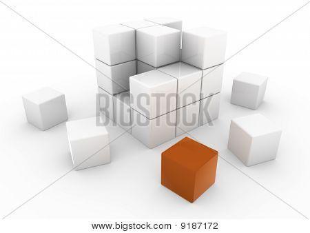 cube white orange