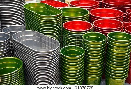 Red, Green And Sliver Flowerpots