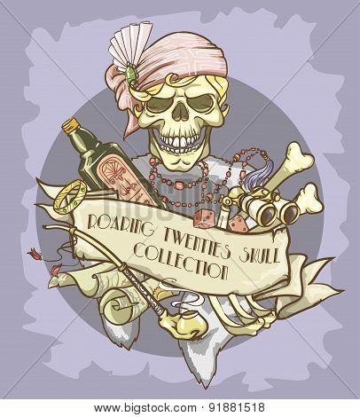 Roaring Twenties Skull label - lady