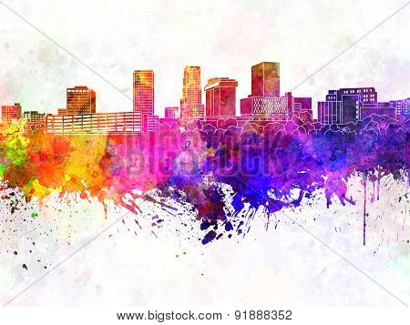 Akron Skyline In Watercolor Background