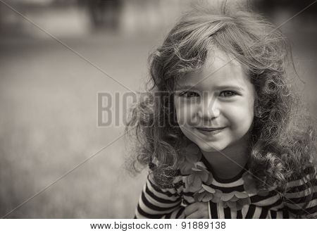 Black And White Portrait Of Cute Little Girl In A Park. Close-up Of Beautiful Child, Outdoors - Grey