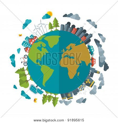 Eco Friendly, green energy concept, vector flat illustration.