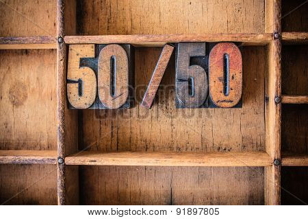 50/50 Concept Wooden Letterpress Theme