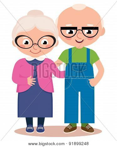Old Married Couple Isolated On A White Background