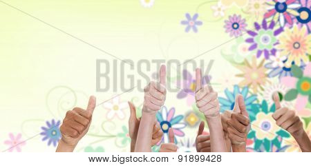 Thumbsup against digitally generated girly floral design