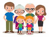 Stock Vector cartoon illustration of a family group portrait parents grandparents and children isolated on white background poster