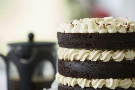 Decadent Chocolate Layer Cake With Coffee Urn