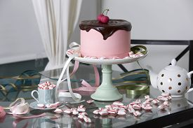 Chocolate Cherry Cake Surrounded By Peppermints