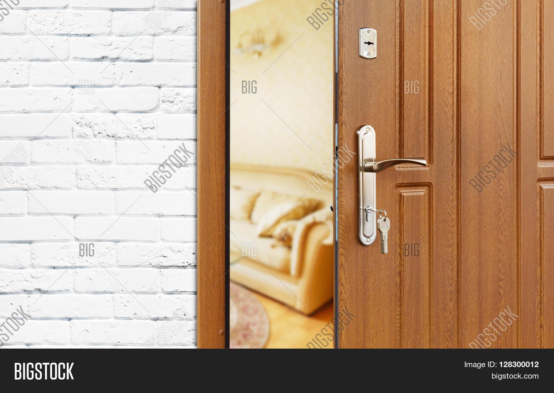 Exceptionnel Half Opened Door To A Living Room. Door Handle, Door Lock. Lounge Door