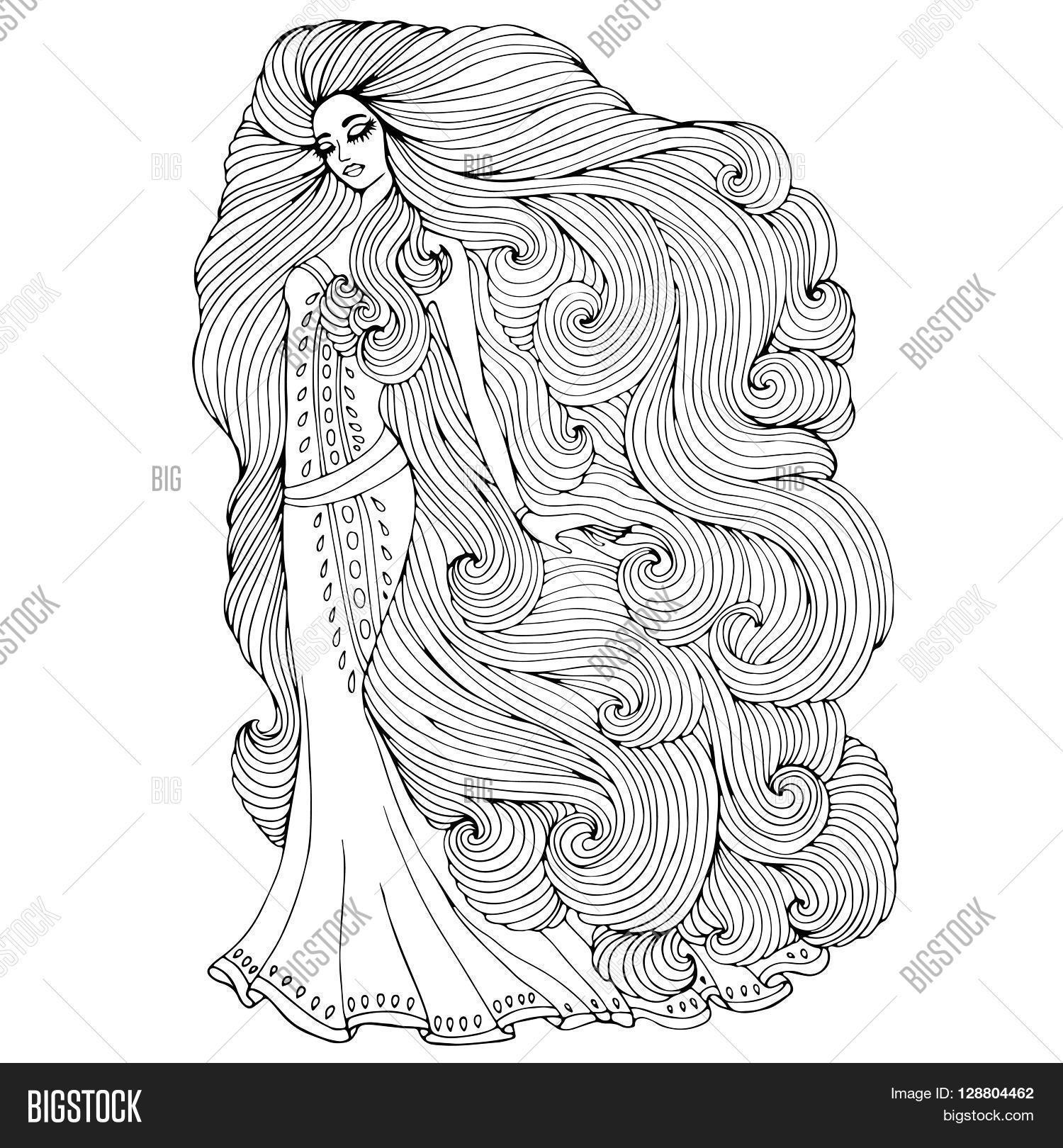 Young Rapunzel Coloring Pages Vector Hand Drawn Imag...