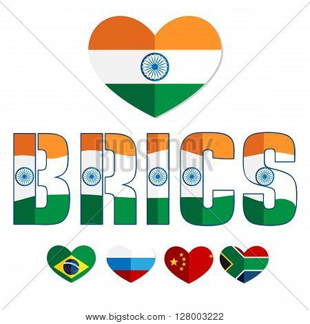Flags of the BRICS countries in the heart of Brazil, Russia, India, China, South Africa, color flat web icon, website logo, illustrated a color image on an isolated background