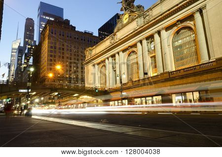 New York City, USA - May, 05 2015 : Grand Central Terminal station by night, street view