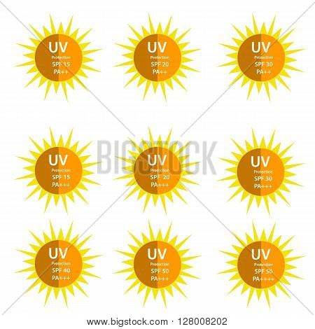 UV Protection logo with half shadow sun with SPF betweetn 15 to 50 and with UVA protection index (PA) with two and three plus
