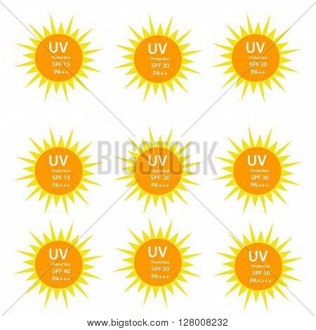 UV Protection with SPF betweetn 15 to 50 and with UVA protection index (PA) with two and three plus